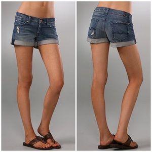 7FAM | Distressed Roll Up Midi Rise Jean Shorts